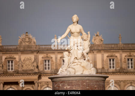 statues of Latona fountain and Herrenchiemsee palace on the island Herreninsel in lake Chiemsee, Chiemgau, Bavaria, - Stock Photo