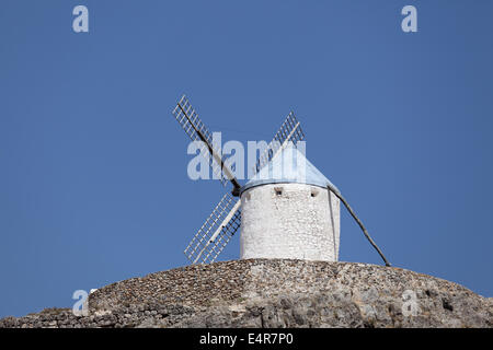 Traditional spanish windmill in Castilla-La Mancha, Spain - Stock Photo
