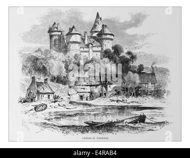 Chateau de Combourg, France_Illustration from 'The British isles - Cassell Petter & Galpin Part 8 Picturesque Europe. - Stock Photo