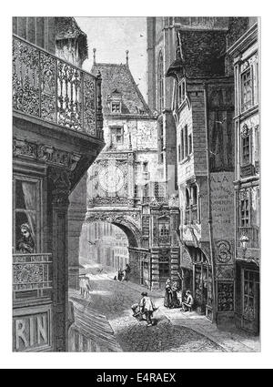 La Grosse Horloge, Rouen Illustration from 'The British isles - Cassell Petter & Galpin Part 8 Picturesque Europe. - Stock Photo