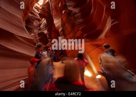 Tourists in Upper Antelope Canyon, near Page, Navajo Nation, Arizona, USA - Stock Photo