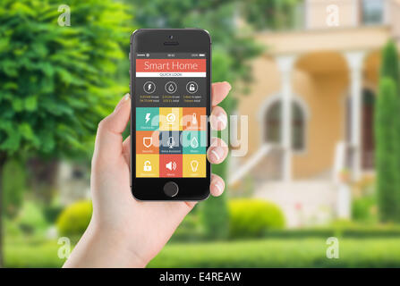 Smart House Phone smart house system control and mobile app on a tablet