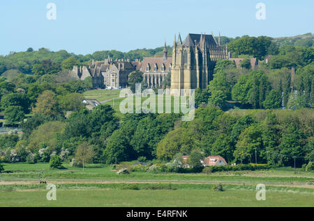 Lancing College and Chapel. Viewed from across the Adur Valley. East Sussex. England - Stock Photo