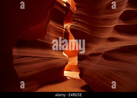 Eroded sandstone formations in Upper Antelope Canyon, near Page, Navajo Nation, Arizona, USA - Stock Photo