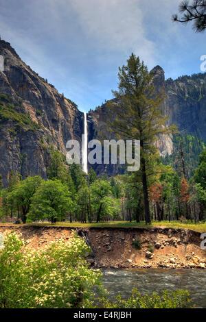 Merced River and Bridalveil Falls, Yosemite National Park, Calif. USA - Stock Photo