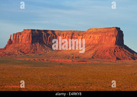 Late light on Eagle Mesa, Monument Valley, Navajo Nation, Utah/Arizona Border, USA - Stock Photo