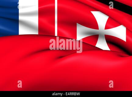 Flag of Wallis And Futuna. Close Up. - Stock Photo
