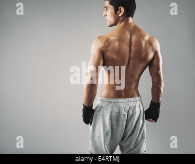 Rear view of muscular young male boxer standing looking away. Fit young man wearing boxing gloves on grey background. - Stock Photo