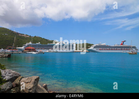 A cruise ship in port at Charlotte Amalie, St. Thomas, US Virgin Islands viewed from across the harbor - Stock Photo