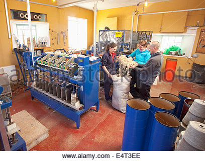 North Ronaldsay Trust Wool Mill, North Ronaldsay, Orkney. Based in an old Lighthouse building, the wool mill processes - Stock Photo