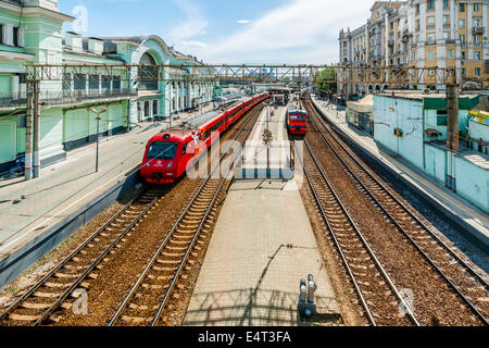 Red Aeroexpress train to Sheremetyevo International Airport, Moscow - Stock Photo