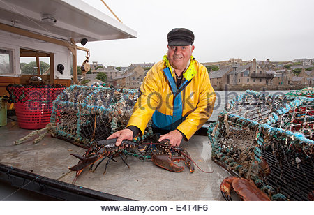 A lobster fisherman in his boat at the harbour at Stromness, Mainland, Orkney, Scotland. - Stock Photo