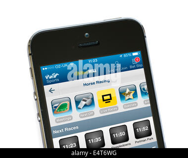 William Hill betting app on an Apple iPhone 5S - Stock Photo