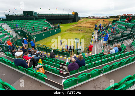 Hoylake, UK. 16th July, 2014. The Open Golf Championship. Spectators beginning to fill the seats at the tee off - Stock Photo