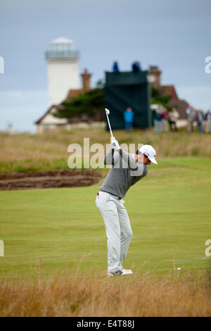 Hoylake, UK. 16th July, 2014. The Open Golf Championship. Rory Mcilroy taking shot on 14th hole at Royal Liverpool, - Stock Photo
