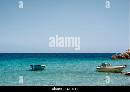 Two boats on the Mediterranean Sea - Stock Photo