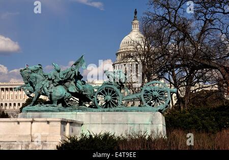 Washington, DC:  The Civil War Sculptures at the Ulysses S. Grant Memorial opposite the Capitol Reflecting Pool - Stock Photo