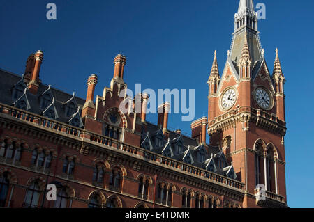 Architecture. The magnificent Victorian façade and clock tower of St Pancras station. London's new international - Stock Photo