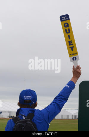 Royal Liverpool Golf club, Hoylake, UK. 16th July, 2014.  Marshal showing Quiet sign to crowds Credit:  rsdphotography/Alamy - Stock Photo