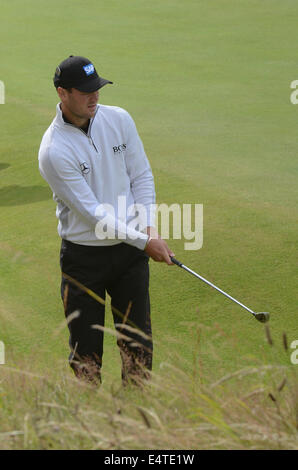Royal Liverpool Golf club, Hoylake, UK. 16th July, 2014.  Martin Kaymer during his practise round before the Championship - Stock Photo