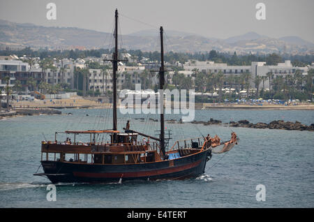 The famous 'Pirate ship of Paphos Habour' is our very own Jolly Roger, taking its name from the pirate ship in Peter - Stock Photo