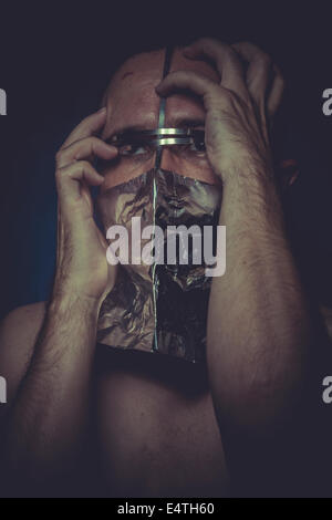 Ill, concept of mental disorder, schizophrenia and depression - Stock Photo