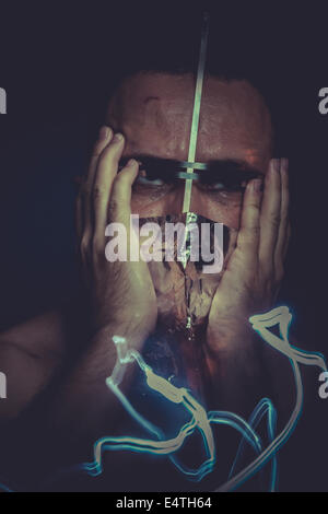 hallucination, concept of mental disorder, schizophrenia and depression - Stock Photo