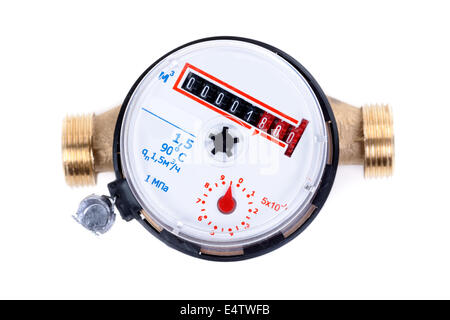 new water meter on white background - Stock Photo