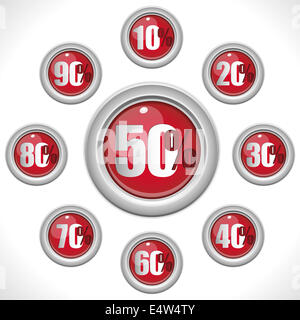 Glossy Red Sale Buttons Percentage Numbers - Stock Photo