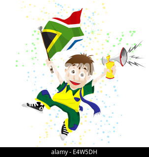 South Africa Sport Fan with Flag and Horn Stock Photo