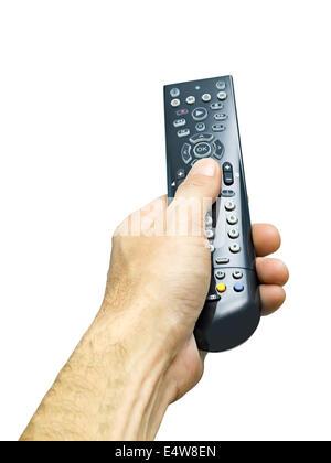 remote control in hand, male