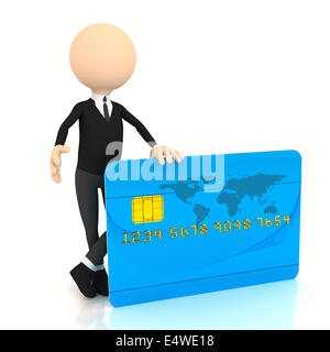 3d businessman with credit card - Stock Photo