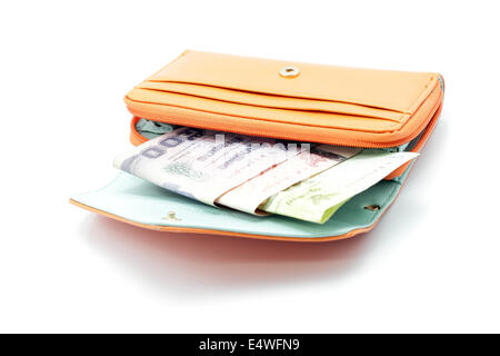 Orange wallet with Thai cash in white isolated background - Stock Photo