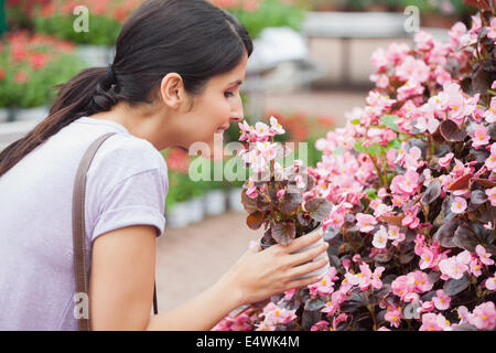 Black-haired woman smelling flower - Stock Photo