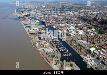 aerial view of Liverpool waterside area fronting on to the River Mersey, UK - Stock Photo