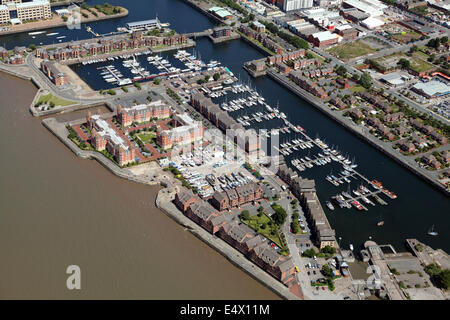aerial view of the marina at Liverpool, UK - Stock Photo