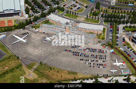Aerial view of the former Speke Airport in Liverpool, UK. Now a Crown Plaza Hotel. - Stock Photo