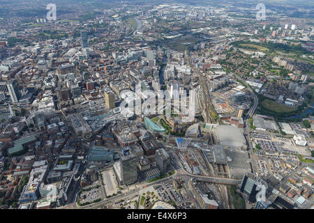An aerial view looking south west from Victoria Station towards Manchester city centre. - Stock Photo