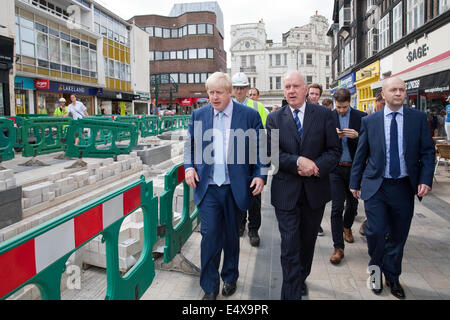 Bromley, Kent, UK. 17th July, 2014.London Mayor,Boris Johnson,visits Bromley to launch action for high streets plan - Stock Photo