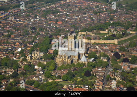 An aerial view looking west towards Lincoln Cathedral and the Castle beyond - Stock Photo