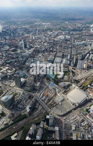 Aerial view of looking from Victoria Station towards Central Manchester - Stock Photo