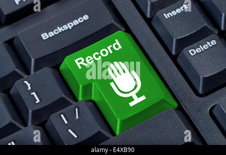 Button record with microphone. - Stock Photo