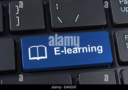 Button e-learning with icon book. - Stock Photo