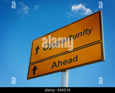 Opportunity ahead road sign. - Stock Photo