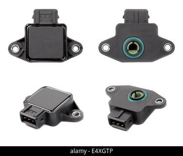 Collage of four throttle position sensor - Stock Photo