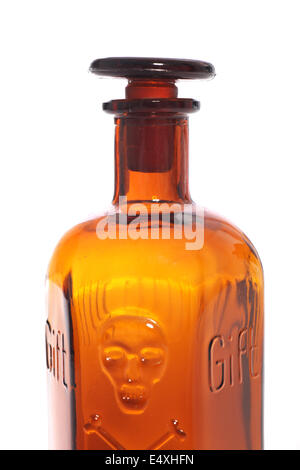 Brown poison bottle - Stock Photo