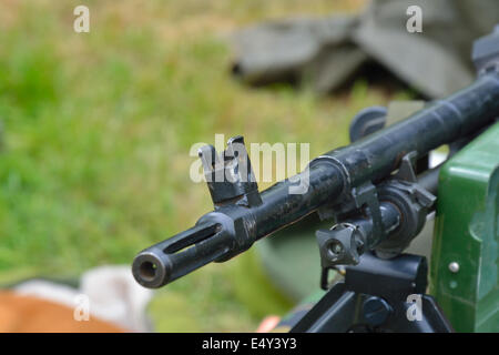 machine gun in close up - Stock Photo