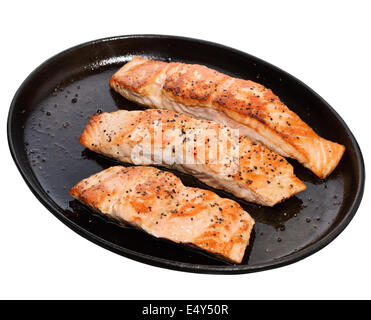 Fried Salmon Fillets In A Iron  Platter Isolated On White Background - Stock Photo