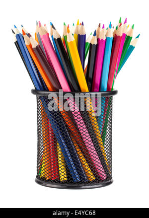 Various color pencils in black cup - Stock Photo