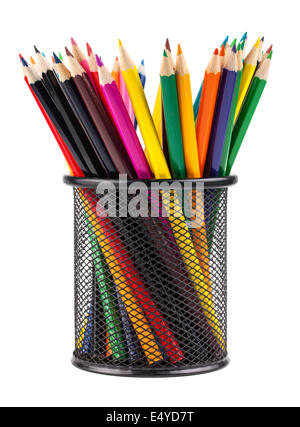 Set of color pencils in a basket - Stock Photo